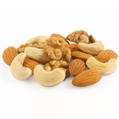 Pile of assorted nuts close up